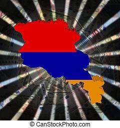 Armenia map flag on currency burst illustration