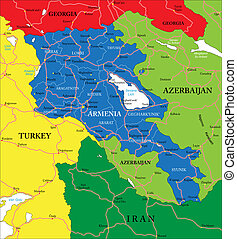 Highly detailed vector map of Armenia with administrative regions, main cities and roads.