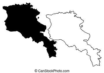 Armenia map vector illustration, scribble sketch Republic of...