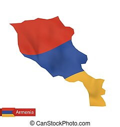 Armenia map with waving flag of Armenia.