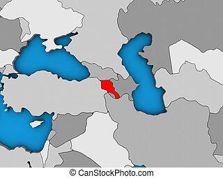 Armenia on 3D map