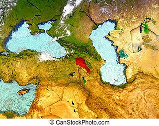 Armenia on illustrated globe