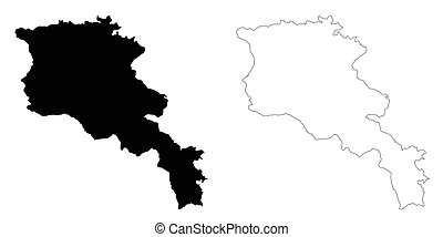 Armenia outline map - detailed isolated vector country...