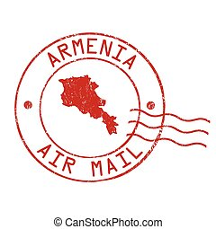 Armenia post office, air mail stamp