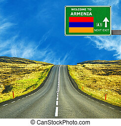 Armenia road sign against clear blue sky