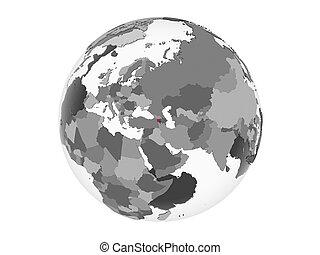 Armenia with flag on globe isolated