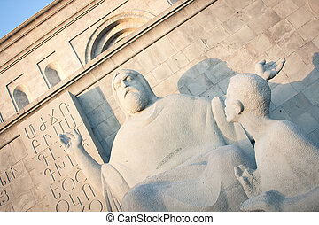 armenia, yerevan, mesrop, estatua, mashtots, frente, ...