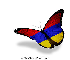 Armenian flag butterfly flying, isolated on white background