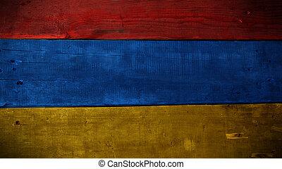 Armenian flag on wood