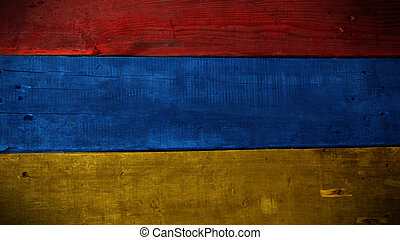 Armenian flag on wood