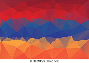 Armenian flag - triangular polygon pattern