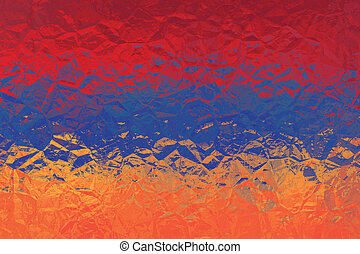 Armenian flag - triangular polygon pattern of crumpled shiny metal surface
