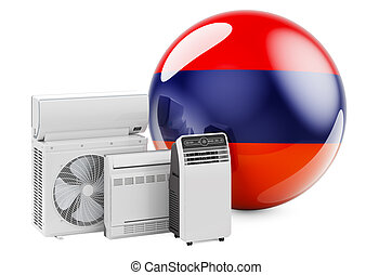 Armenian flag with cooling and climate electric devices. Manufacturing, trading and service of air conditioners in Armenia, 3D rendering