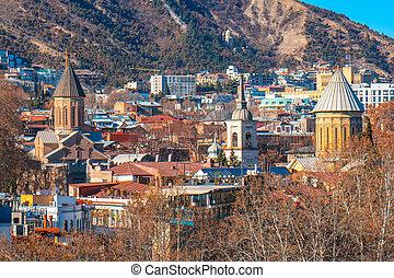 armenio, tbilisi, ortodoxo, cityscape, pueblo viejo, churhes...