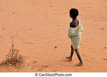 armer junge, gehen, begriff, barfuß, sandl., armut