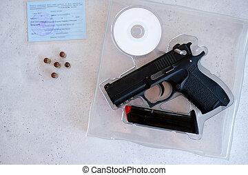 armes, 9mm, achat, porter, garder, pneumatique, armes feu, permission, pistol., pistolet, chasse