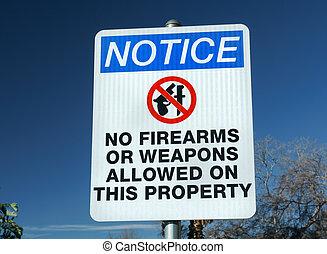 armes, armes feu, non, ou, signe
