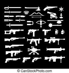 armes, ensemble, icônes