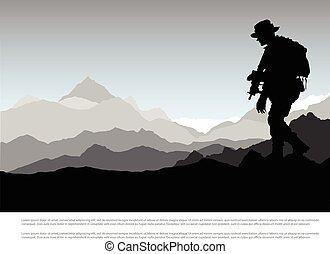 armes, montagne, silhouette, militaire