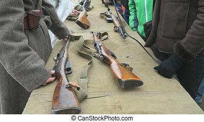 armes, soldat, seconde, guerre mondiale, spectacles