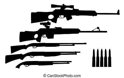 armi, caccia, silhouette, vettore