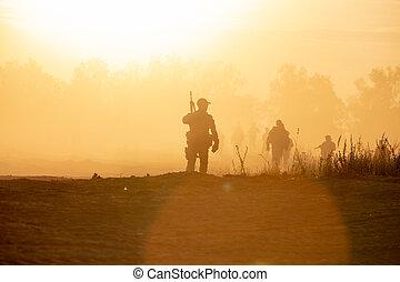 armi, camminare, presa, arte, fondo, effetto, scuro, stile, tramonto, fumo, soldati, azione, silhouette, nave, equilibrio, bianco