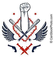 armi, caos, vendemmia, differente, rioter, anarchia, vettore, forte, elementi, tatuaggio, logotipo, ribelle, disegno, partigiano, pugno serrato, emblema, aggressivo, o, stile, revolutionary.