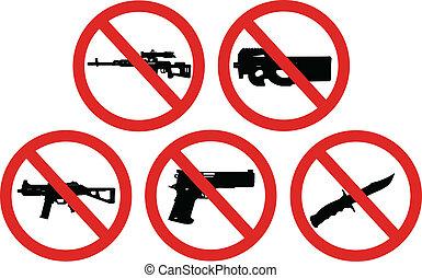 armi, proibito, segni