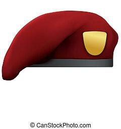 armia, beret, kasztanowaty, szczególna siła, wojskowy, czerwony