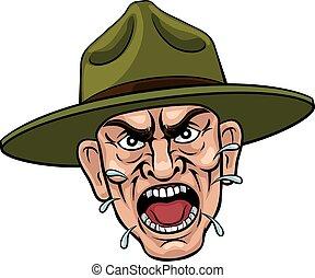 armia, dryl, sierżant, gniewny, rysunek, bootcamp