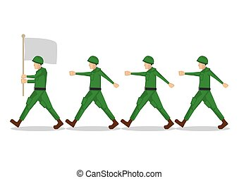 armia, flag., odizolowany, ilustracja, jednolity, ich, ...