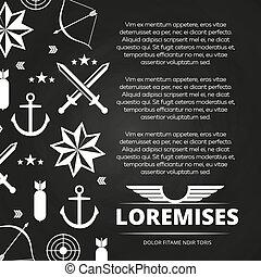 armia, miecze, strzała, marynarka wojenna, kotwica, albo