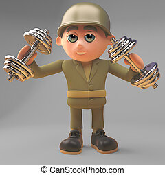 armia, zdrowy, ilustracja, żołnierz, dumbell, wykonuje,...