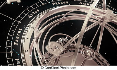 Armillary Sphere And Zodiac Signs On Black Background