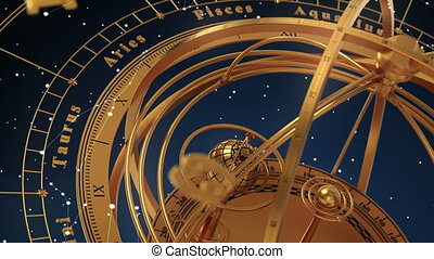 Armillary Sphere And Zodiac Signs On Blue Background