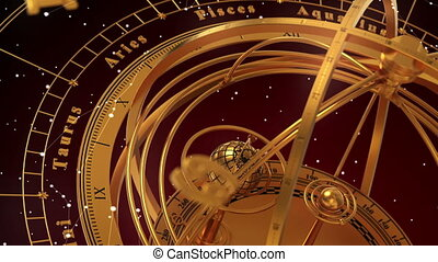 Armillary Sphere And Zodiac Signs On Red Background