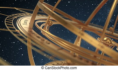Armillary Sphere On Background Of Starburst. 3D Animation. Seamless Looped.
