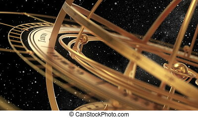 Armillary Sphere On Black Background Of Starburst. 3D Animation. Seamless Looped.