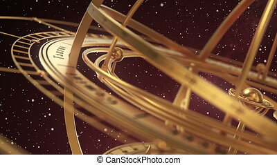 Armillary Sphere On Red Background Of Starburst