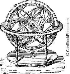 Armillary Sphere, vintage engraving.
