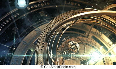 Armillary Sphere, Zodiac Astrology Signs And Planets Revolving Around Them. 4K. 3D Animation. UHD. 3840x2160.