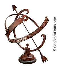 Armillary Sundial isolated on white with a clipping path