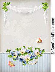 armoedig, chic, romantische, bloem, ouderwetse , achtergrond
