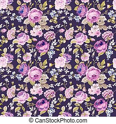 armoedig, lente, -, seamless, vector, achtergrondmodel, floral, chic, bloemen