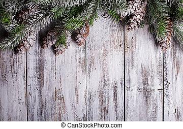 armoedig, sneeuw bedekte, witte , grens, kerstmis, pinecones