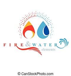 armonia, emblema, natura, elementi, uso, corporativo, acqua...
