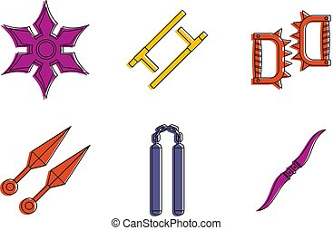 Armor icon set, color outline style