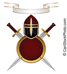 Heraldic composition. A knightly helmet, a shield and swords on a white background. Above a banner for the motto.