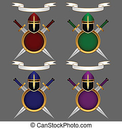 Heraldic composition. A knightly helmet, a shield and swords on a gray background. Above a banner for the motto. Set. Eps-8