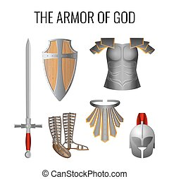 Armor of God elements set isolated on white. Vector - Set of...